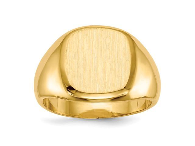 14k Yellow Gold Engravable Men's Signet Ring (12.5mm x 12mm face)