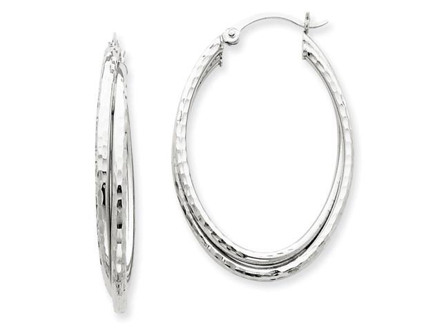 14k White Gold D/C Polished Oval Hoop Earring. Length 40mm x Width 25mm.