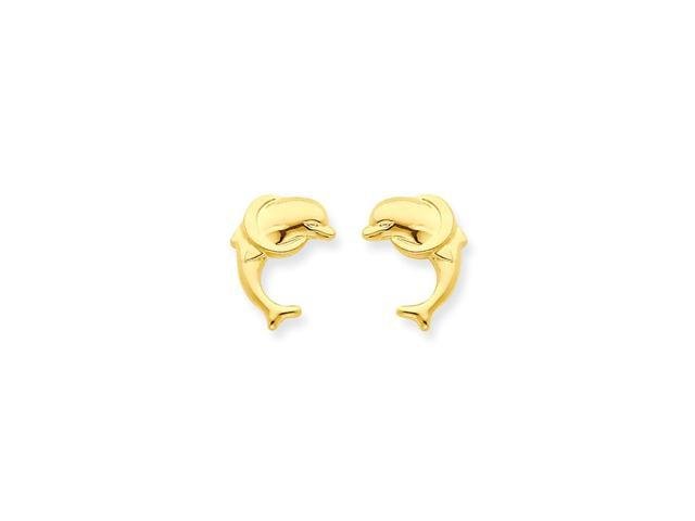 14k Yellow Gold Childs Dolphin Post Earrings w/ Gift Box (0.4IN x 0.3IN )