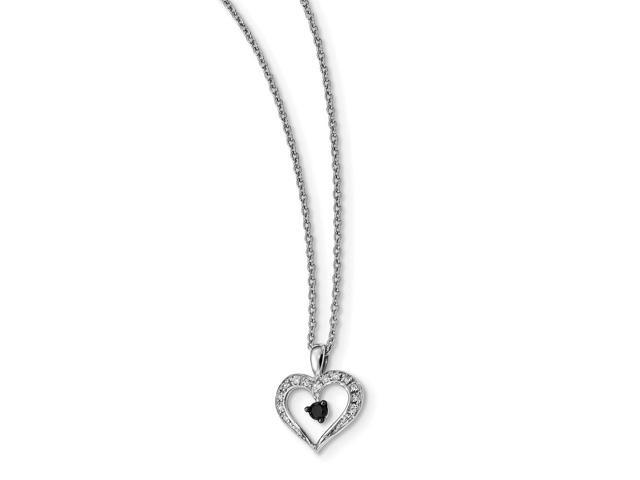 Sterling Silver Rhodium Plated Black and White Diamond Heart Pendant. Total Carat Wt- 0.16ct.