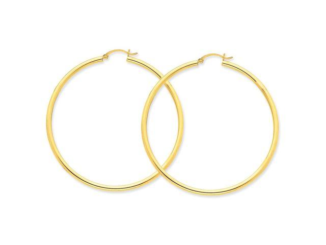 14k Yellow Gold Polished 2.5mm Round Hoop Earrings. 60mm Diameter.