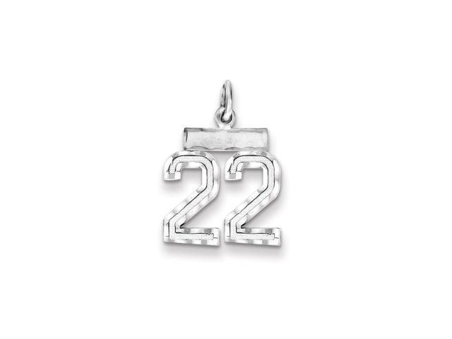 Sterling Silver Polished Small #22 Charm (0.8IN long x 0.5IN wide)