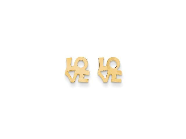 14k Yellow Gold Childs LOVE Post Earrings w/ Gift Box (8MM)