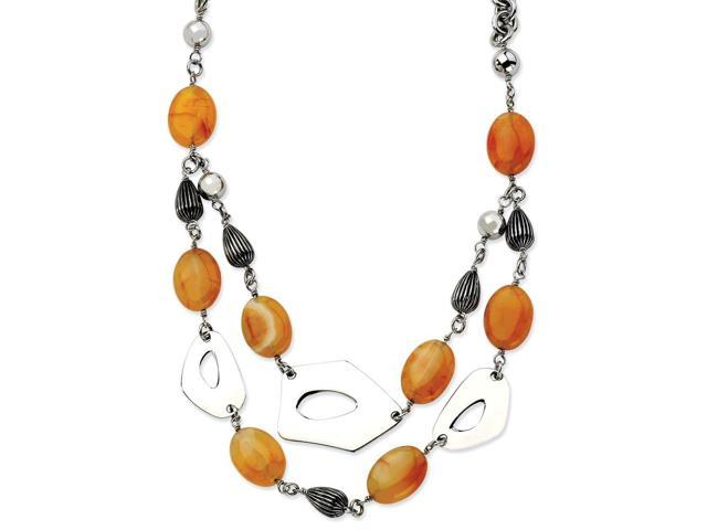 Stainless Steel Red/Orange Agate 24 w/ 1.5in ext. Necklace