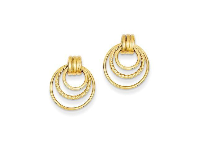 14k Yellow Gold Polished & Twisted Fancy Post Earrings (0.6IN x 0.5IN)