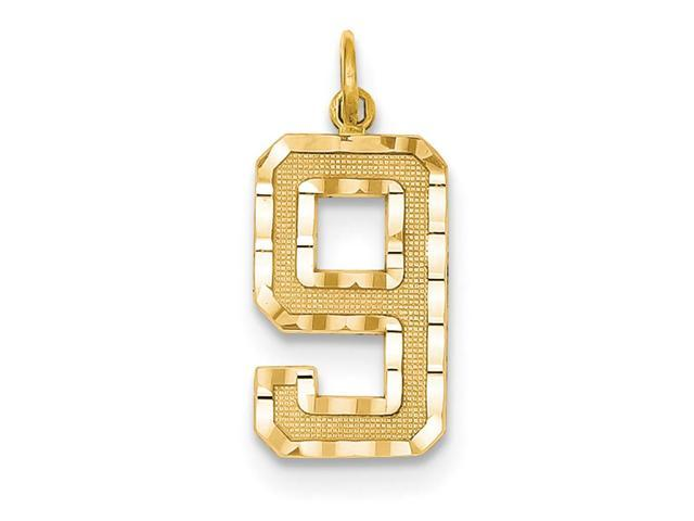 14k Yellow Gold Casted Large D/C Number 9 Charm Pendant