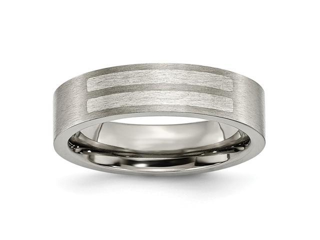 Titanium Flat 6mm 925 Sterling Silver Engravable Inlay Brushed Band