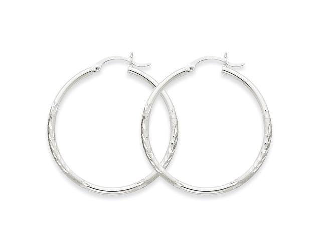 14k White Gold Satin & Diamond-cut 2mm Round Hoop Earrings. 35mm Diameter.