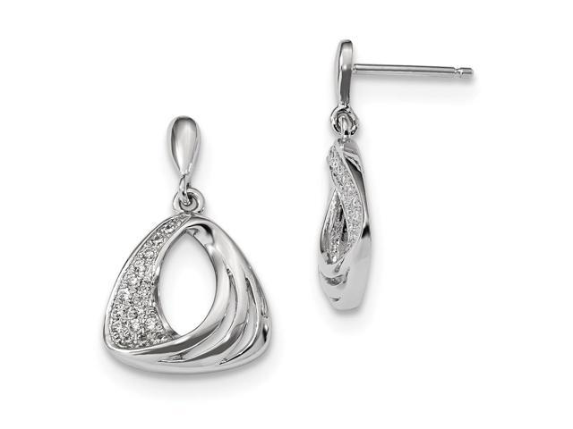 Sterling Silver Rhodium Plated & Synthetic CZ Brilliant Embers Dangle Post Earrings (0.8IN x 0.5IN )
