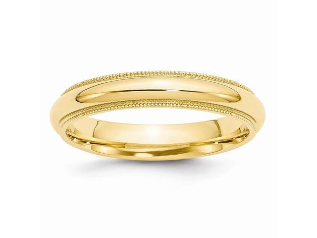 14k Yellow Gold Engravable 4mm Milgrain Comfort Wedding Band
