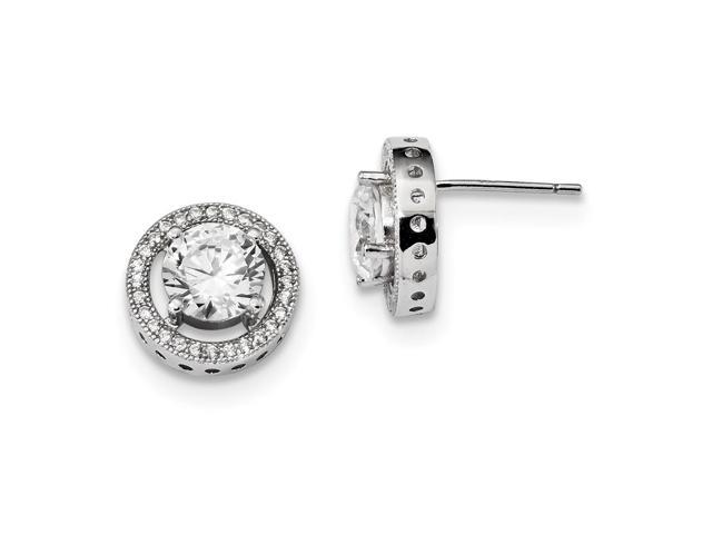 Sterling Silver Rhodium Plated & Synthetic CZ Brilliant Embers Earrings (0.4IN x 0.4IN )
