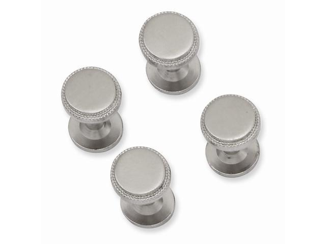 Rhodium Plated Engravable Stainless Steel Four Piece Florentined Beaded Tuxedo Studs