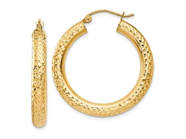 14k Yellow Gold Diamond-cut 4mm Round Hoop Earrings. 30mm Diameter.