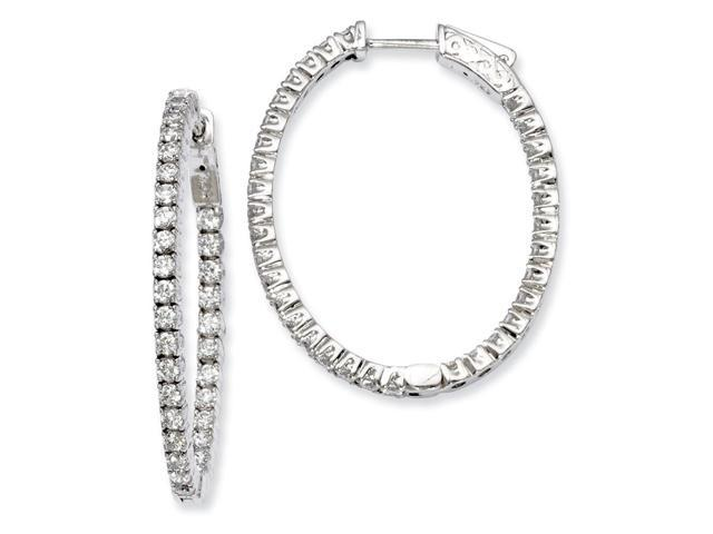 Sterling Silver Rhodium Plated with Synthetic CZ Hinged Oval Hoop Earrings (1.2IN x 1IN )