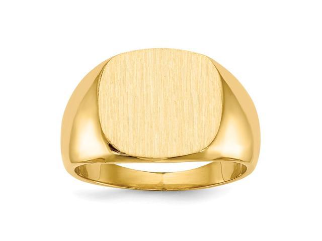 14k Yellow Gold Engravable Men's Signet Ring (15.2mm x 13.5mm face)