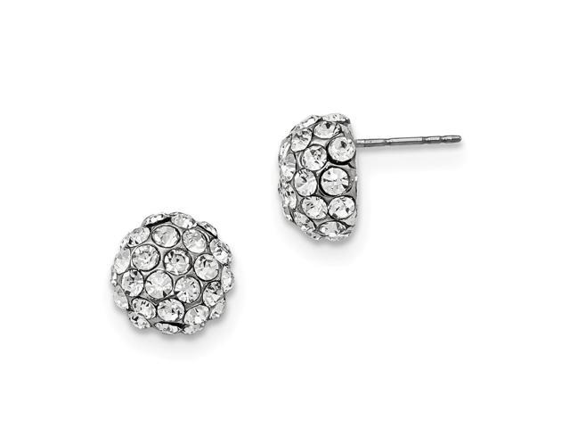 Silvertone Clear Crystal Amore Classic Post Earrings