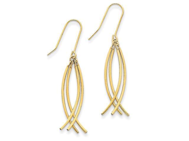 14k Yellow Gold Curved Stick Dangle Shepherds Hook Earrings (1.7IN x 0.4IN)