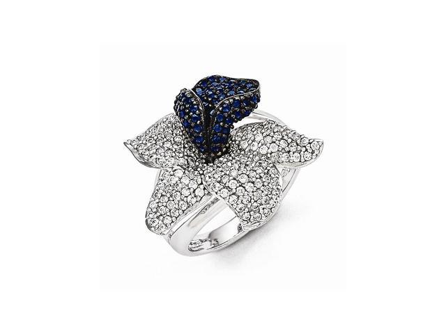 Sterling Silver Rhodium Plated White & Blue Synthetic CZ Embers Flower Ring