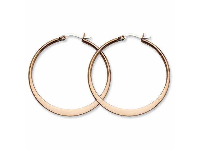 Stainless Steel Chocolate-plated 43mm Hoop Earrings (1.7IN Long)
