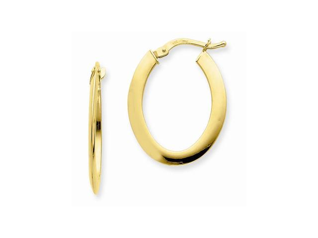 14k Yellow Gold 1.5mm Polished Flat Oval Hoop Earrings. 25mm x 19mm.