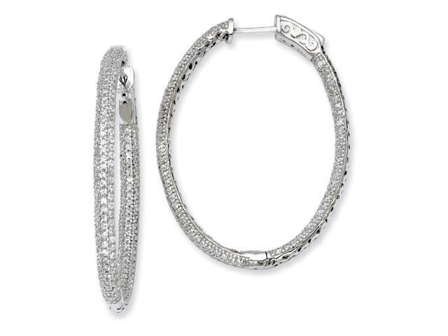 Sterling Silver Rhodium Plated with Synthetic CZ Hinged Oval Hoop Earrings (1.4IN x 1.1IN )