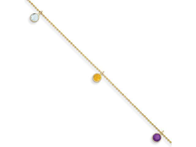 14k Yellow Gold Synthetic 9in Multi-colored Gemstone Anklet.