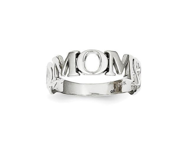 14k White Gold Mom Heart Ring