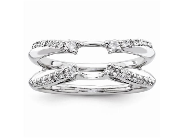 14k White Gold Diamond Polished Ring Guard (Color H-I, Clarity SI2-I1)