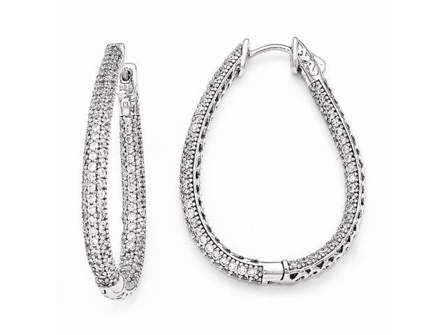 Sterling Silver Rhodium Plated with Synthetic CZ Teardrop Hinged Hoop Earrings (1.4IN x 1.1IN )