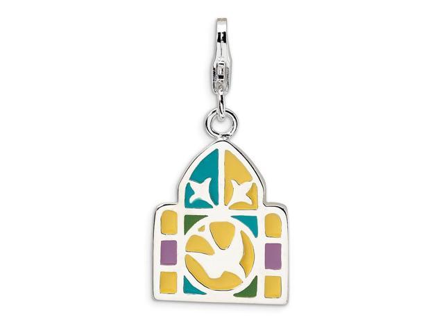 Sterling Silver Rhodium Plated 3-D Enameled Stain Window with Lobster Clasp Charm (1.2IN long x 0.5IN wide)