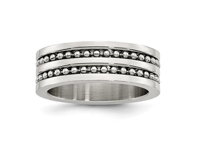 Stainless Steel 8mm Double Row Beaded Brushed & Polished Engravable Band