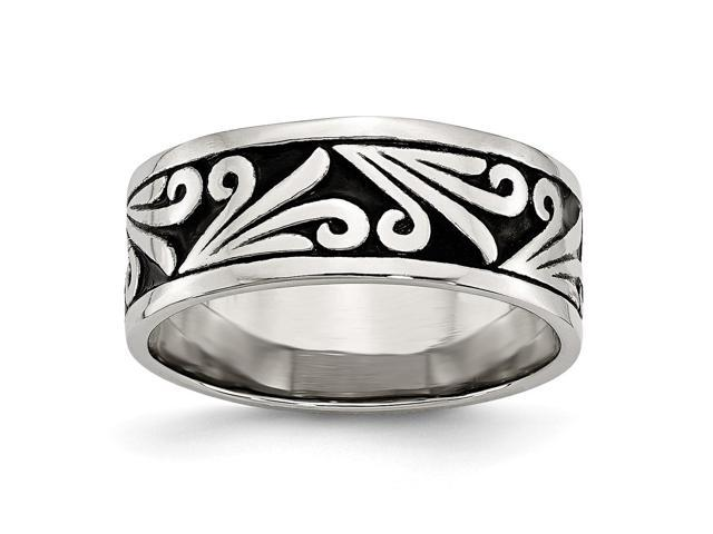 Stainless Steel Engravable Fancy Design Antiqued Ridged Edge Band