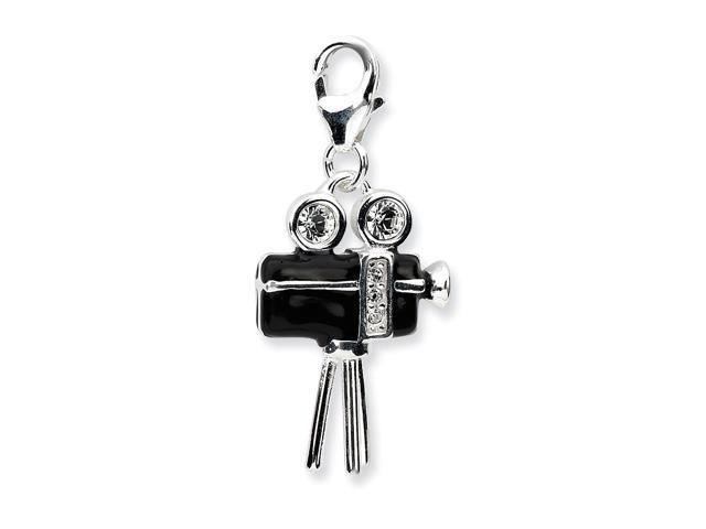 Sterling Silver Rhodium Plated 3-D Enameled Movie Camerawith Lobster Clasp Charm (0.7IN long x 0.5IN wide)