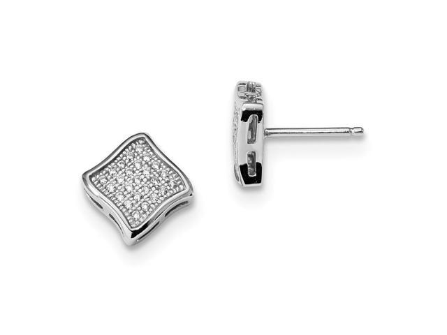 Sterling Silver Rhodium Plated & Synthetic CZ Embers Post Earrings (8MM)