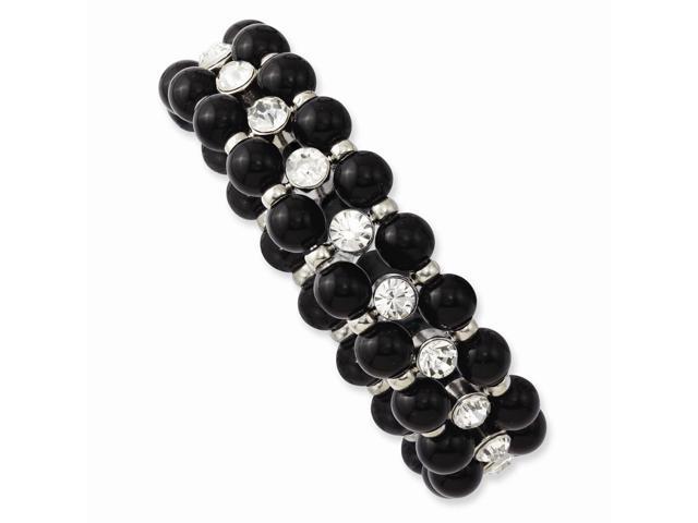 Silvertone Black Crystal Stretch Bracelet