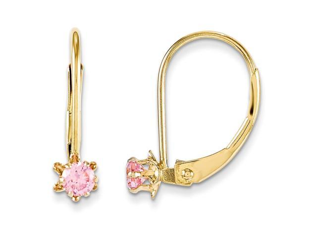 14k Yellow Gold 0.5IN Long Children's Leverback 3mm Pink Synthetic CZ Earrings