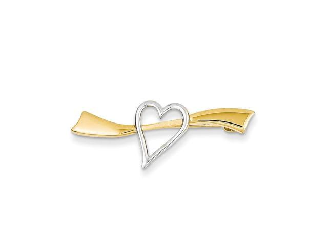 14K Yellow Gold and Rhodium Plated Solid Satin Polished Heart Pin