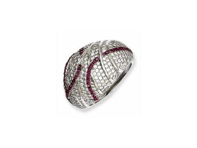 Sterling SIlver & Red Synthetic CZ Embers Ring