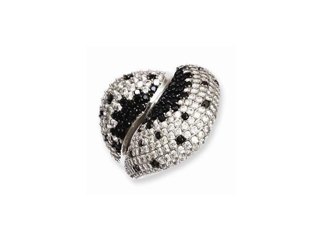 Sterling SIlver & Black Synthetic CZ Burst with Dots Embers Ring