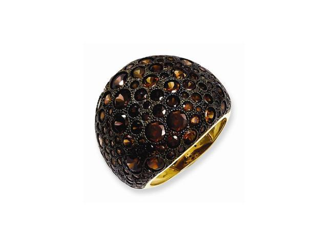 Sterling Silver 14k Gold-plated White & Brown Synthetic CZ Embers Ring