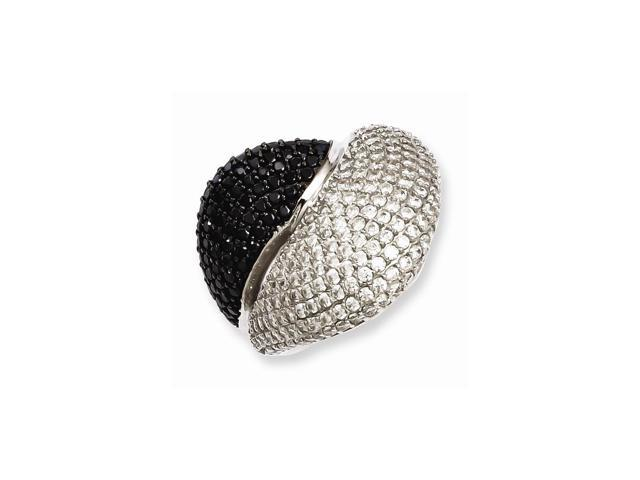 Sterling SIlver & Black Synthetic CZ Solid Embers Ring