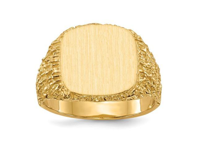 14k Yellow Gold Engravable Men's Signet Ring (13.4mm x 13.3mm face)