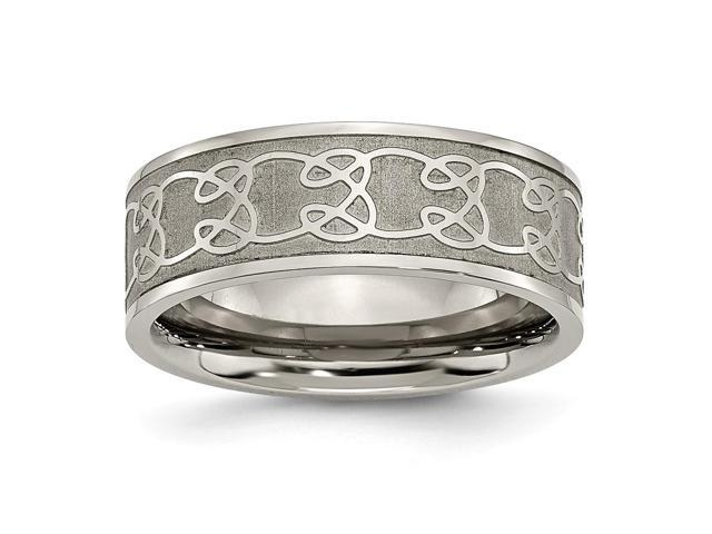 Titanium 8mm Satin and Polished Scroll Design Engravable Band