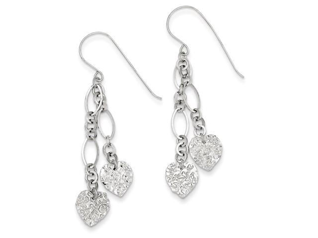 14K White Gold Dangle Heart Shepherd Hook Earrings (1.9IN x 0.3IN )