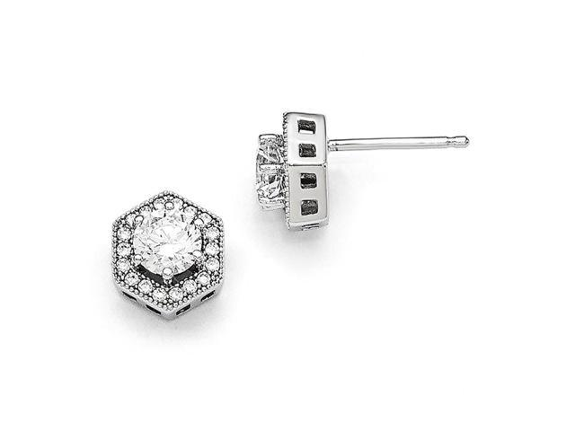 Sterling Silver Rhodium Plated & Synthetic CZ Embers Hexagon Post Earrings (10MM Long x 9MM Wide)