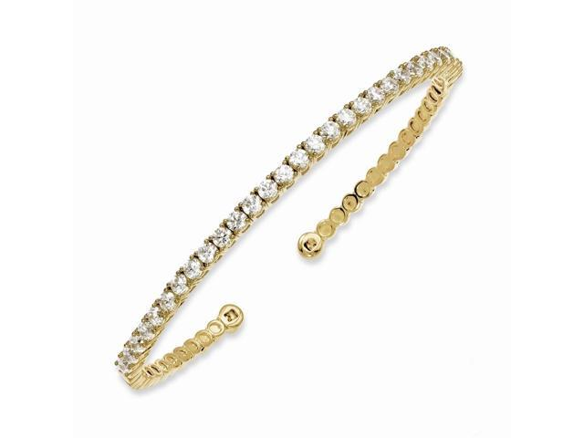 Sterling Silver 14k Yellow Gold-Plated with Synthetic CZ Cuff Bracelet