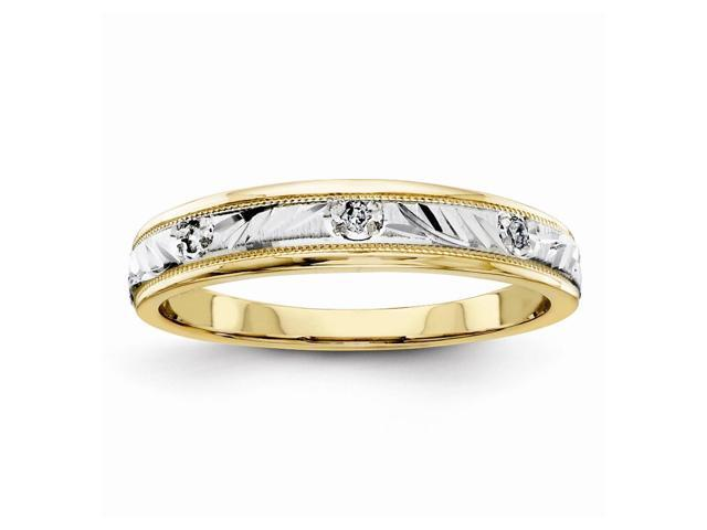 14K Two Tone Gold Fine Trio Ladies Wedding Band (Color H-I, Clarity SI2-I1)