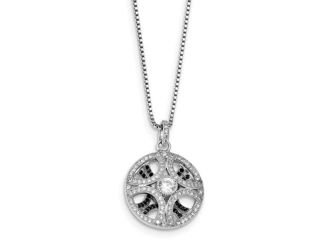 Sterling Silver Rhodium Plated & Synthetic CZ Embers 18in Necklace