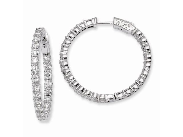 Sterling Silver Rhodium Plated with Synthetic CZ 1.0IN Hinged Hoop Earrings (1.1IN x 1.2IN )