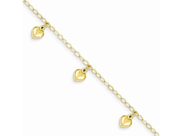 14k Yellow Gold 6in Child's Puffed Heart Charm Bracelet